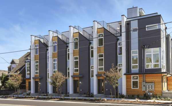 Front Exterior of the Thoren Townhomes Along NW 85th St in Crown Hill