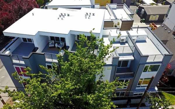 Aerial View of the Roof Decks at Verde Towns 2 in Green Lake by Isola Homes