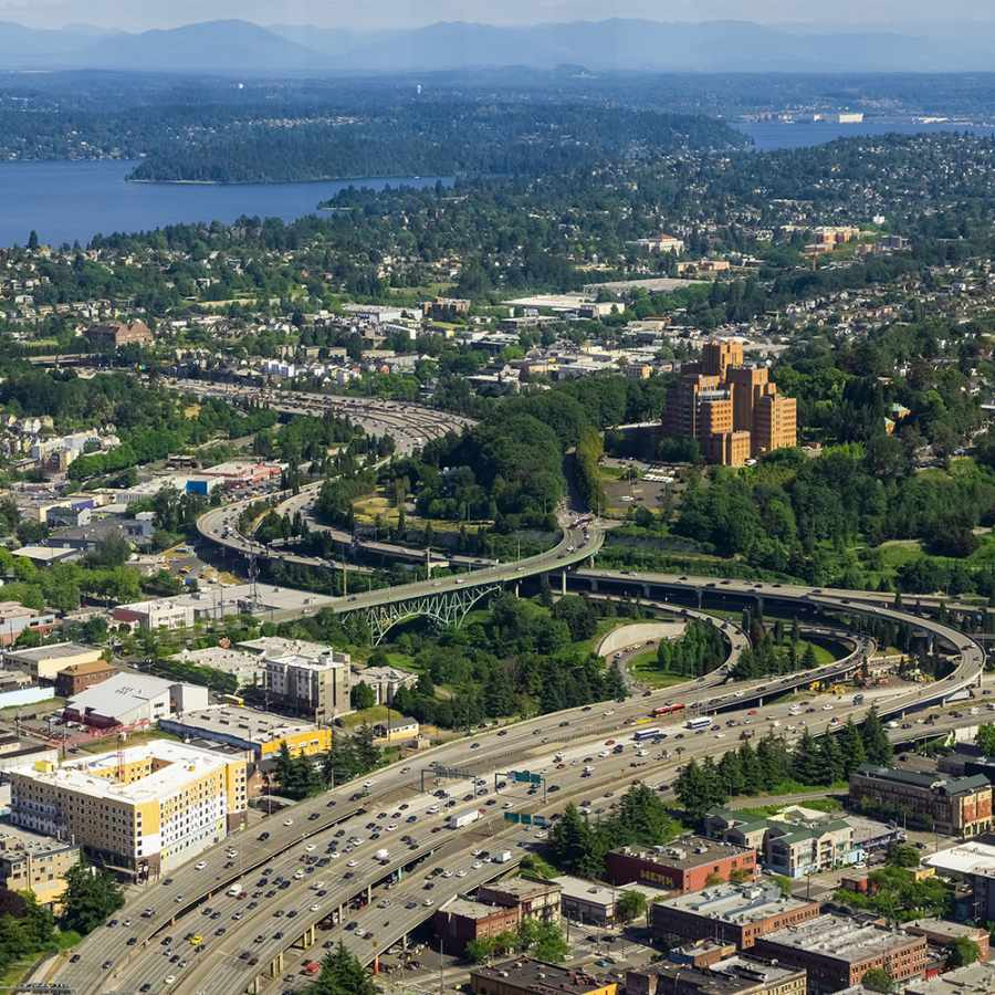 Aerial View of Beacon Hill, Mt Baker, Columbia City, and Seward Park