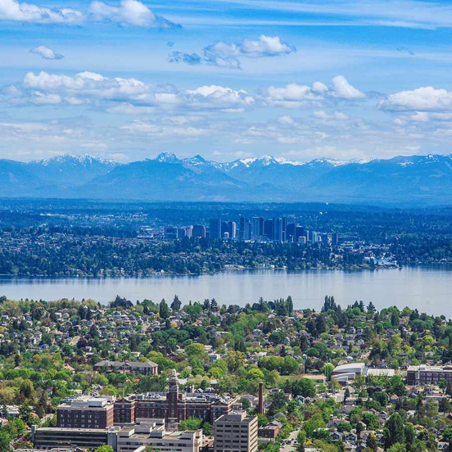 Aerial View of the Central District, Lake Washington, Bellevue, and the Cascades