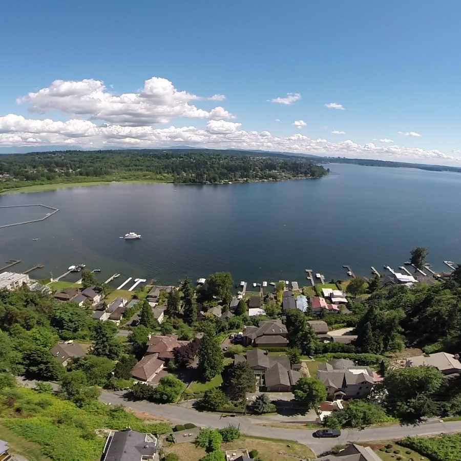 Aerial View of Kirkland, Washington, on the Banks of Lake Washington