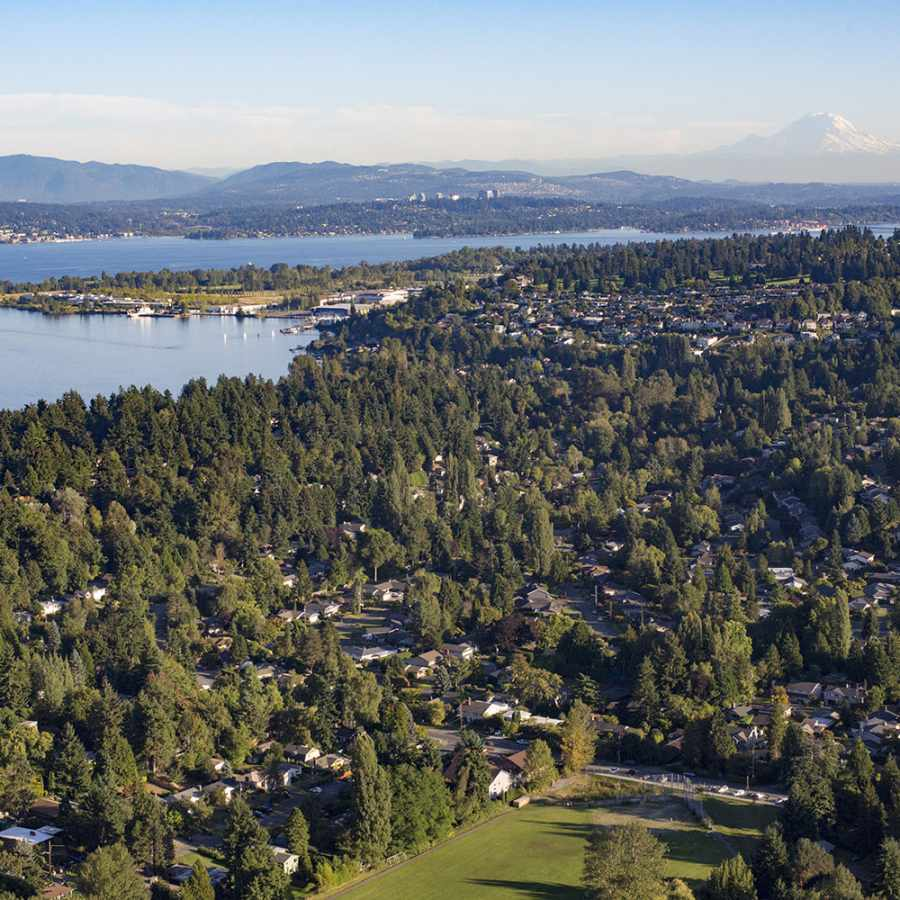 Aerial View of North Seattle, Lake Washington, and Mt Rainier